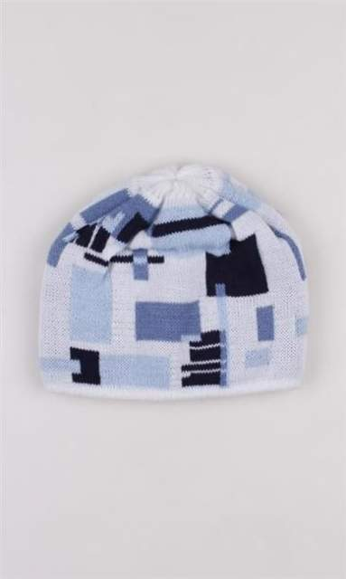 BLUD CZAPKA ZIMOWA WINTER CAP SQUARE WHT/BLUE