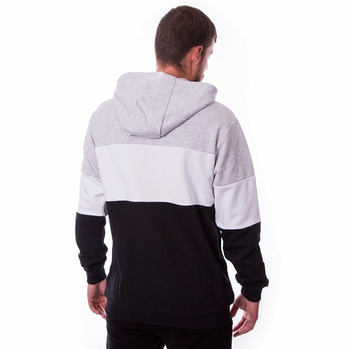 Bluza męska z kapturem Fila Hoody Night light grey melange / black / bright white