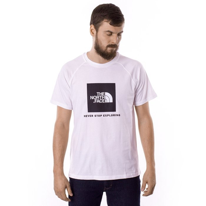 Koszulka męska The North Face Raglan Red Box white (NF0A3BQOFN41)
